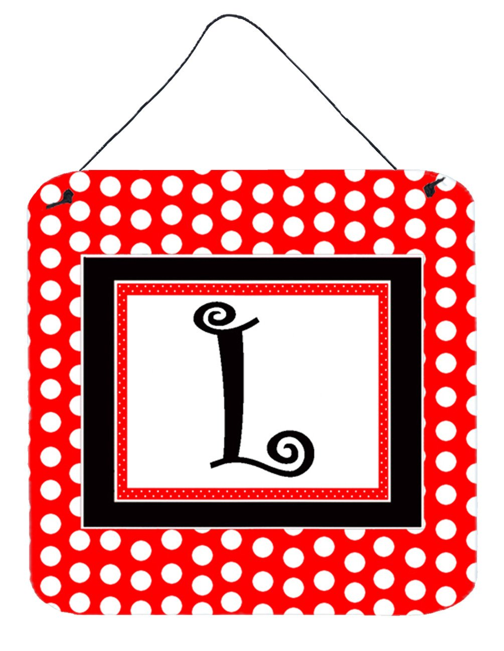 Letter L Initial  - Red Black Polka Dots Wall or Door Hanging Prints by Caroline's Treasures