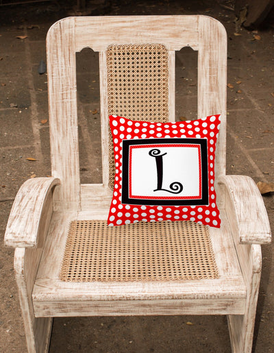 Letter L Initial Monogram Red Black Polka Dots Decorative Canvas Fabric Pillow