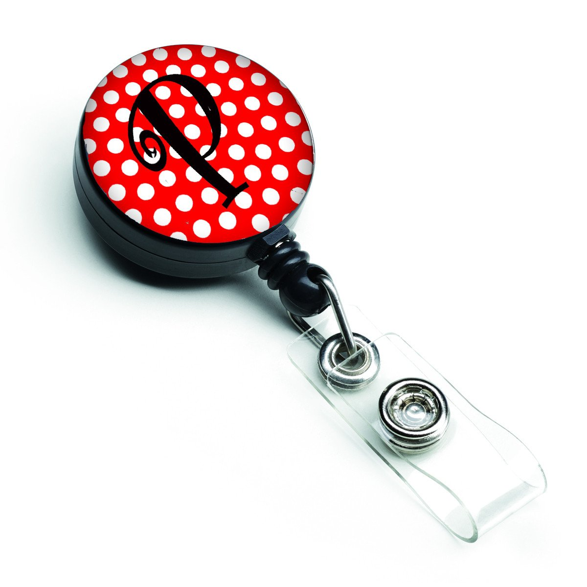 Letter P Initial Monogram Red Black Polka Dots Retractable Badge Reel CJ1012-PBR by Caroline's Treasures