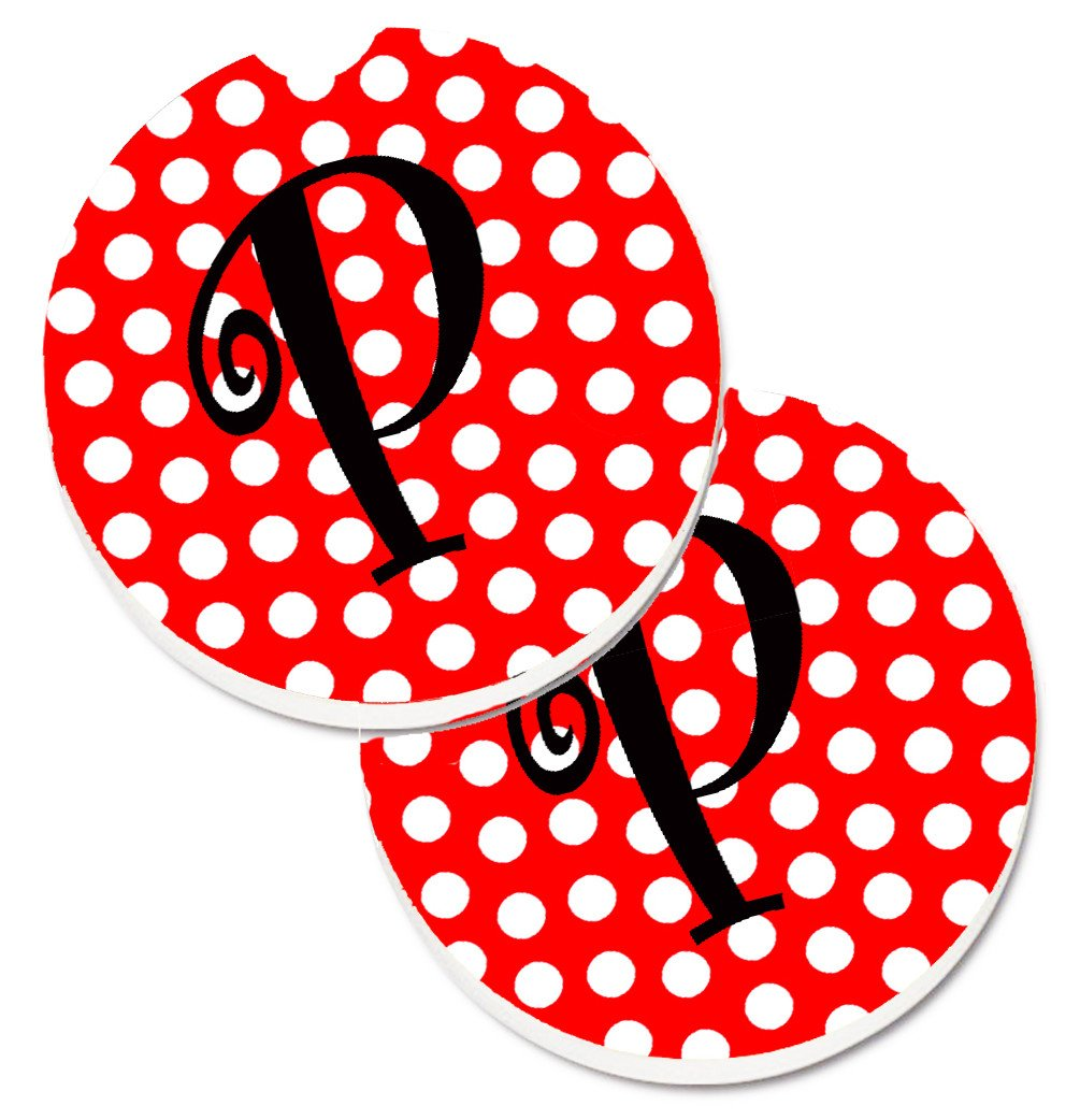 Letter P Initial Monogram Red Black Polka Dots Set of 2 Cup Holder Car Coasters CJ1012-PCARC by Caroline's Treasures