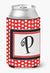 Letter P Initial Monogram - Red Black Polka Dots Can or Bottle Beverage Insulator Hugger by Caroline's Treasures