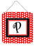 Letter P Initial  - Red Black Polka Dots Wall or Door Hanging Prints by Caroline's Treasures