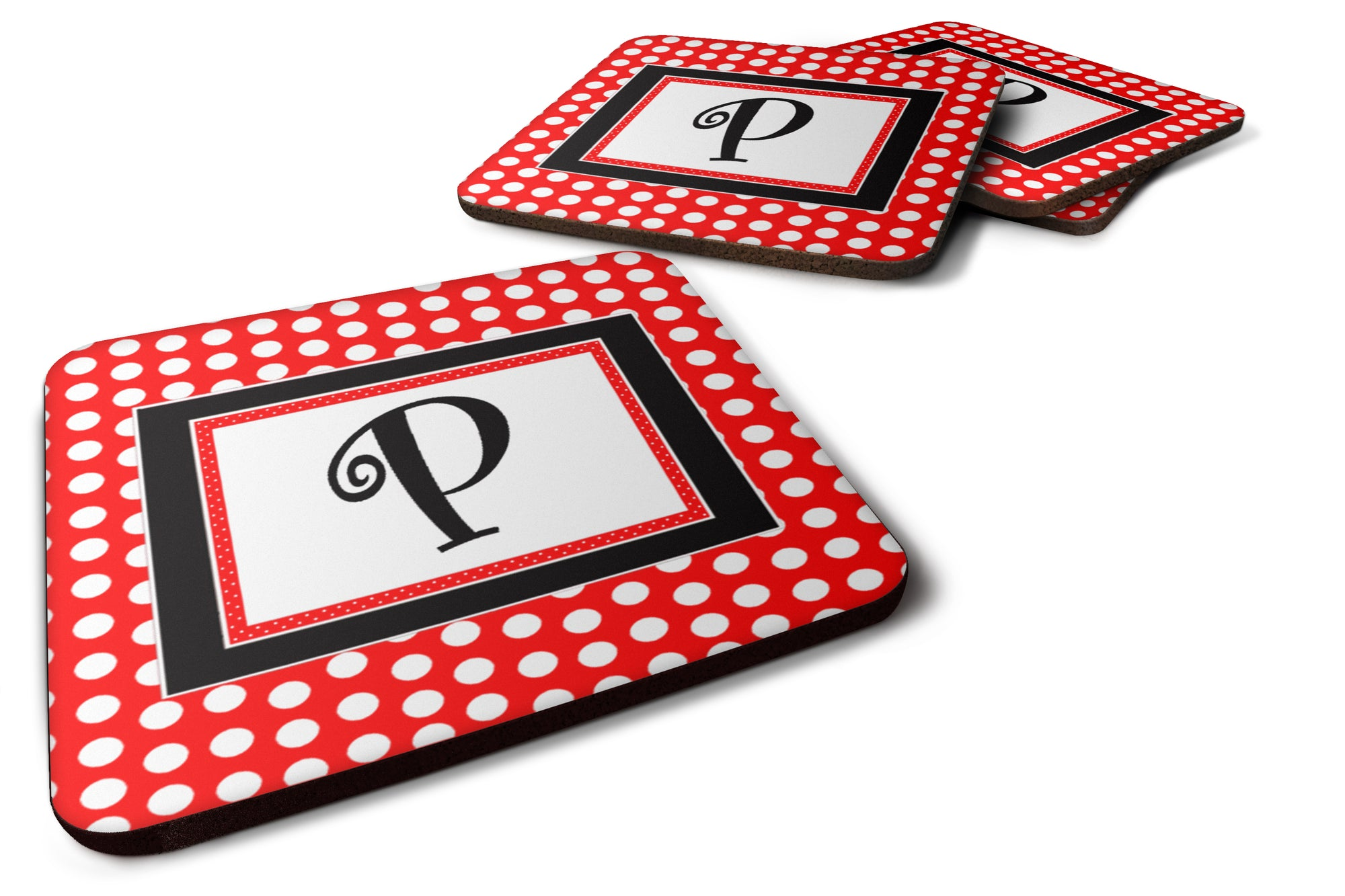 Set of 4 Monogram - Red Black Polka Dots Foam Coasters Initial Letter P by Caroline's Treasures