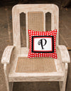 Letter P Initial Monogram Red Black Polka Dots Decorative  Canvas Fabric Pillow