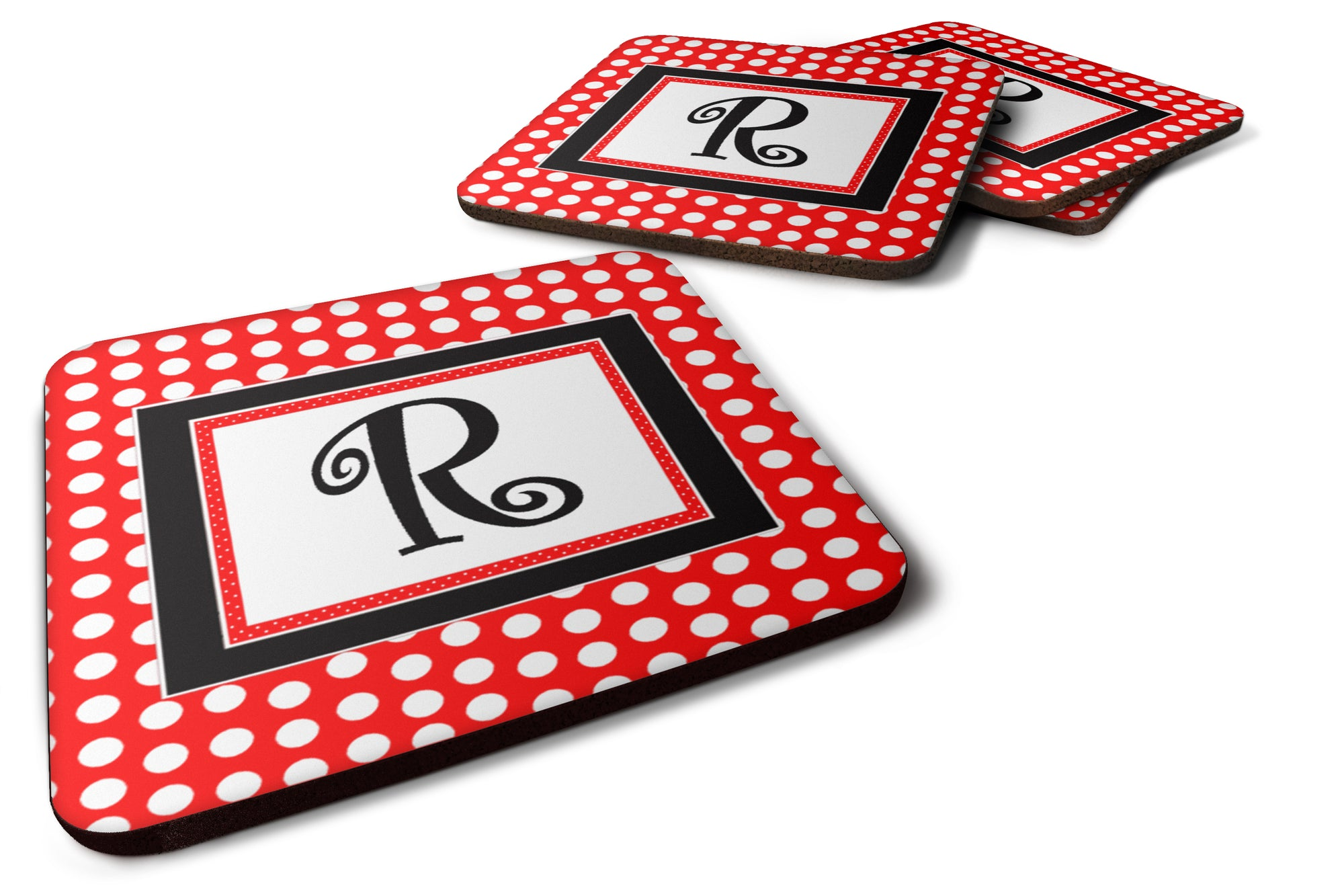 Set of 4 Monogram - Red Black Polka Dots Foam Coasters Initial Letter R by Caroline's Treasures