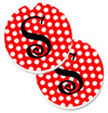 Monogram - Initial S Red Black Polka Dots Set of 2 Cup Holder Car Coasters CJ1012-SCARC by Caroline's Treasures