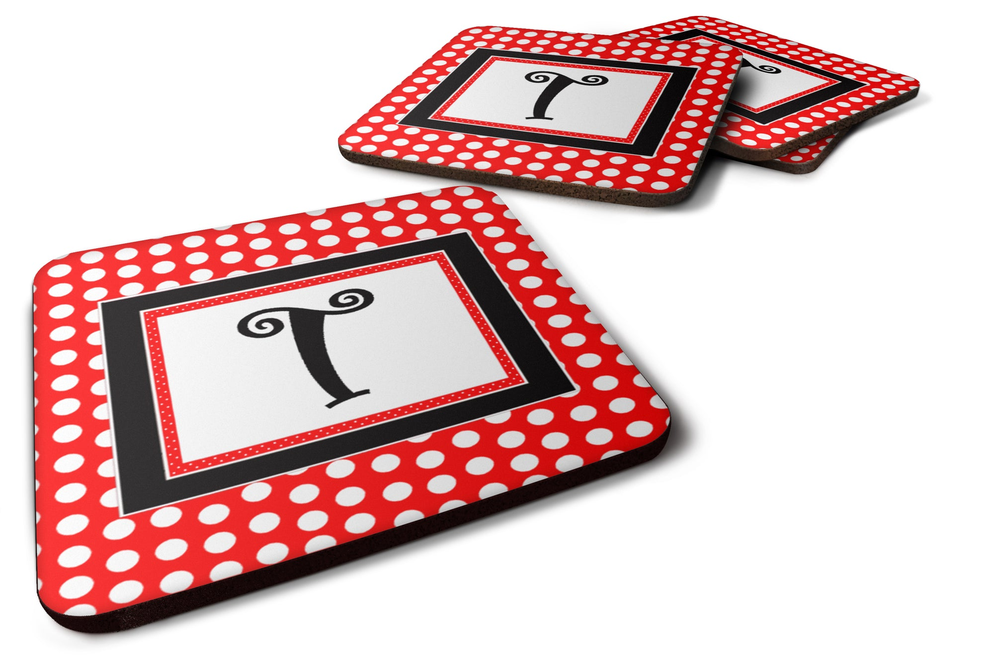 Set of 4 Monogram - Red Black Polka Dots Foam Coasters Initial Letter T by Caroline's Treasures