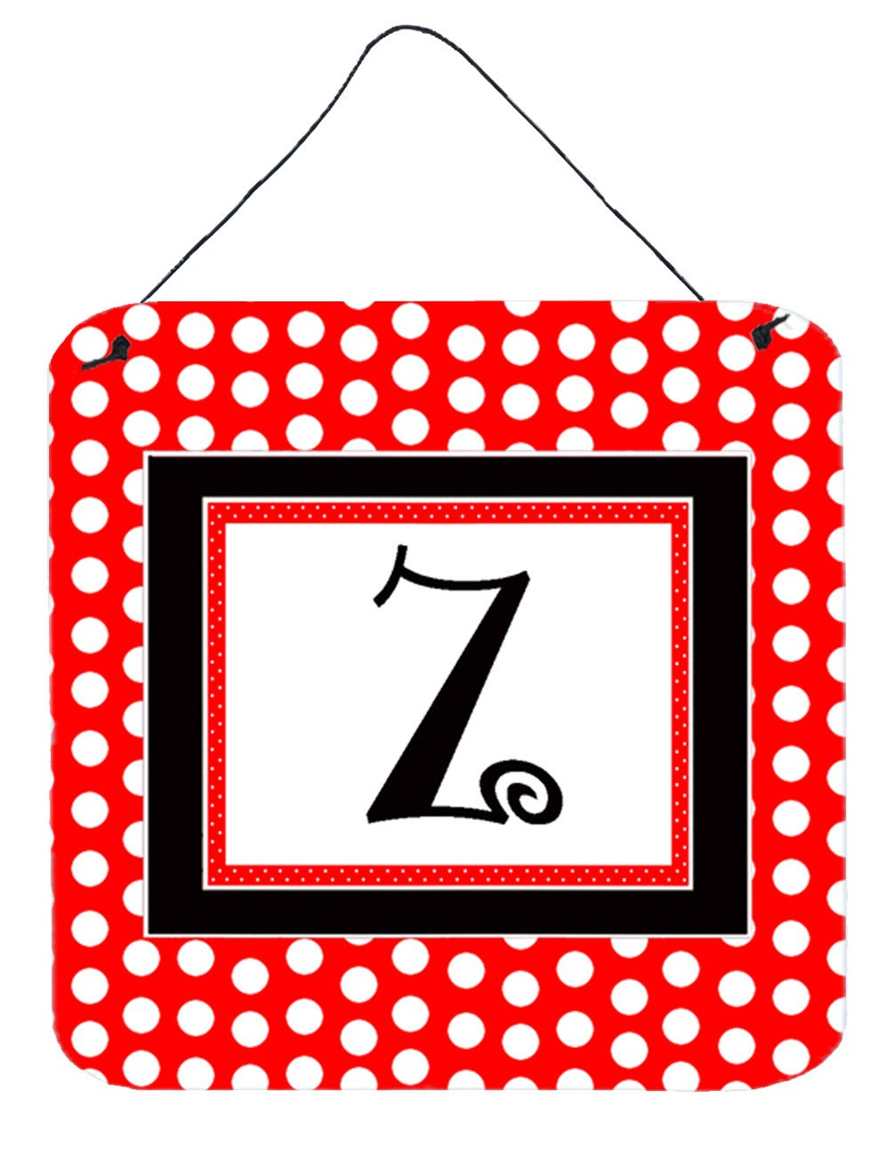 Letter Z Initial  - Red Black Polka Dots Wall or Door Hanging Prints by Caroline's Treasures