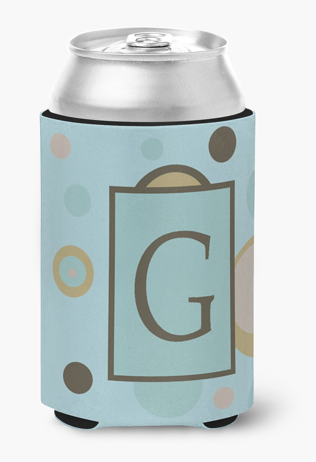 Letter G Initial Monogram - Blue Dots Can or Bottle Beverage Insulator Hugger by Caroline's Treasures