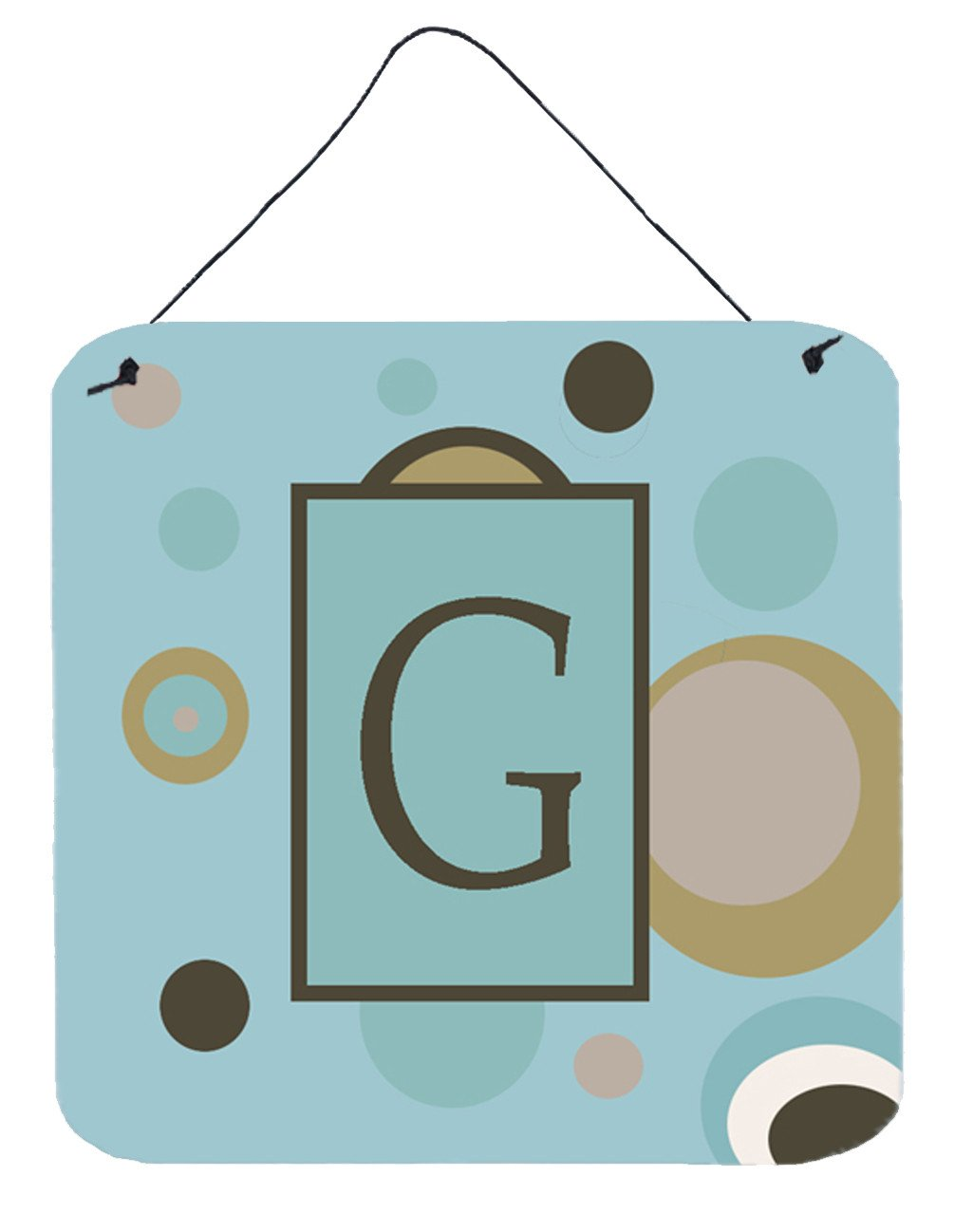 Letter G Initial Monogram - Blue Dots Wall or Door Hanging Prints by Caroline's Treasures