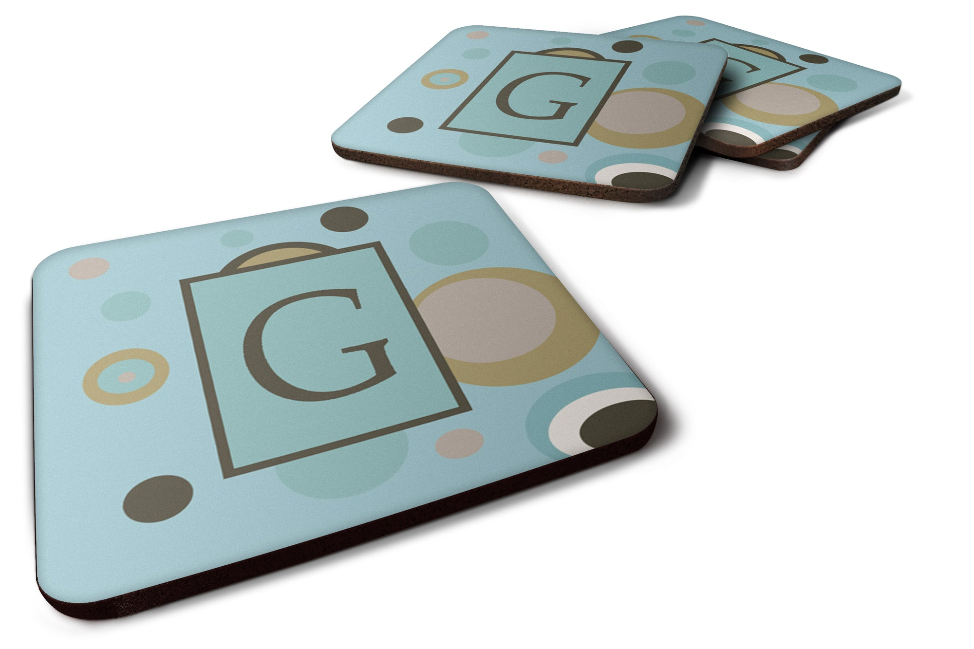 Set of 4 Monogram - Blue Dots Foam Coasters Initial Letter G by Caroline's Treasures
