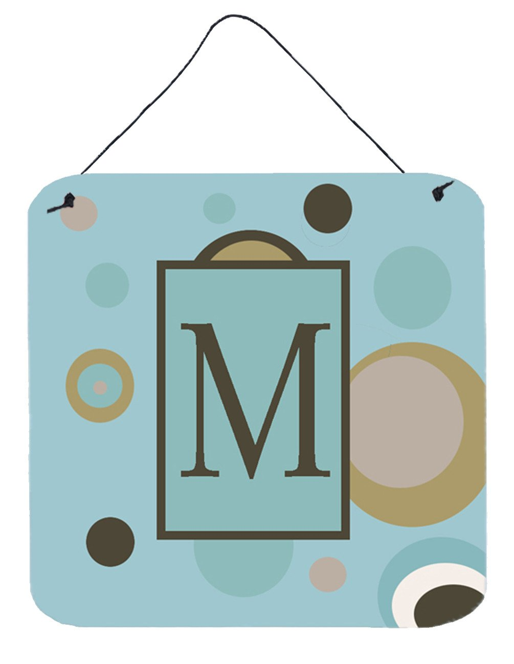 Letter M Initial Monogram - Blue Dots Wall or Door Hanging Prints by Caroline's Treasures