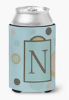 Buy this Letter N Initial Monogram - Blue Dots Can or Bottle Beverage Insulator Hugger