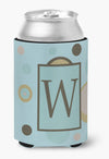 Letter W Initial Monogram - Blue Dots Can or Bottle Beverage Insulator Hugger by Caroline's Treasures