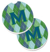 Monogram - Initial M Blue Argoyle  Set of 2 Cup Holder Car Coasters CJ1020-MCARC by Caroline's Treasures