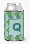 Letter Q Initial Monogram - Blue Argoyle Can or Bottle Beverage Insulator Hugger by Caroline's Treasures