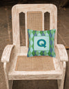 Initial Q Monogram - Blue Argoyle Decorative   Canvas Fabric Pillow CJ1020 - the-store.com
