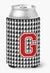 Monogram - Houndstooth Can or Bottle Beverage Insulator Hugger Initial G by Caroline's Treasures