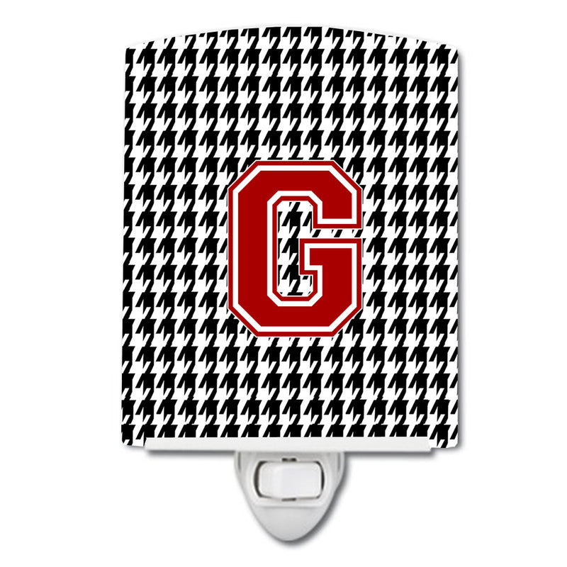 Buy this Letter G Monogram - Houndstooth Black Ceramic Night Light CJ1021-GCNL