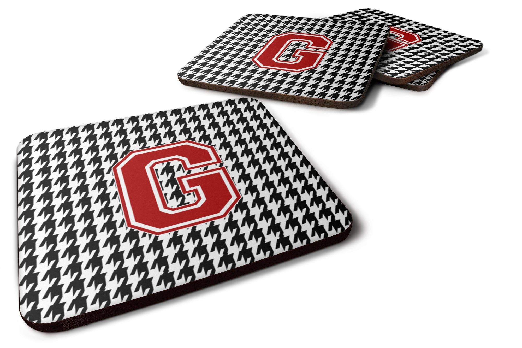Set of 4 Monogram - Houndstooth Foam Coasters Initial G by Caroline's Treasures