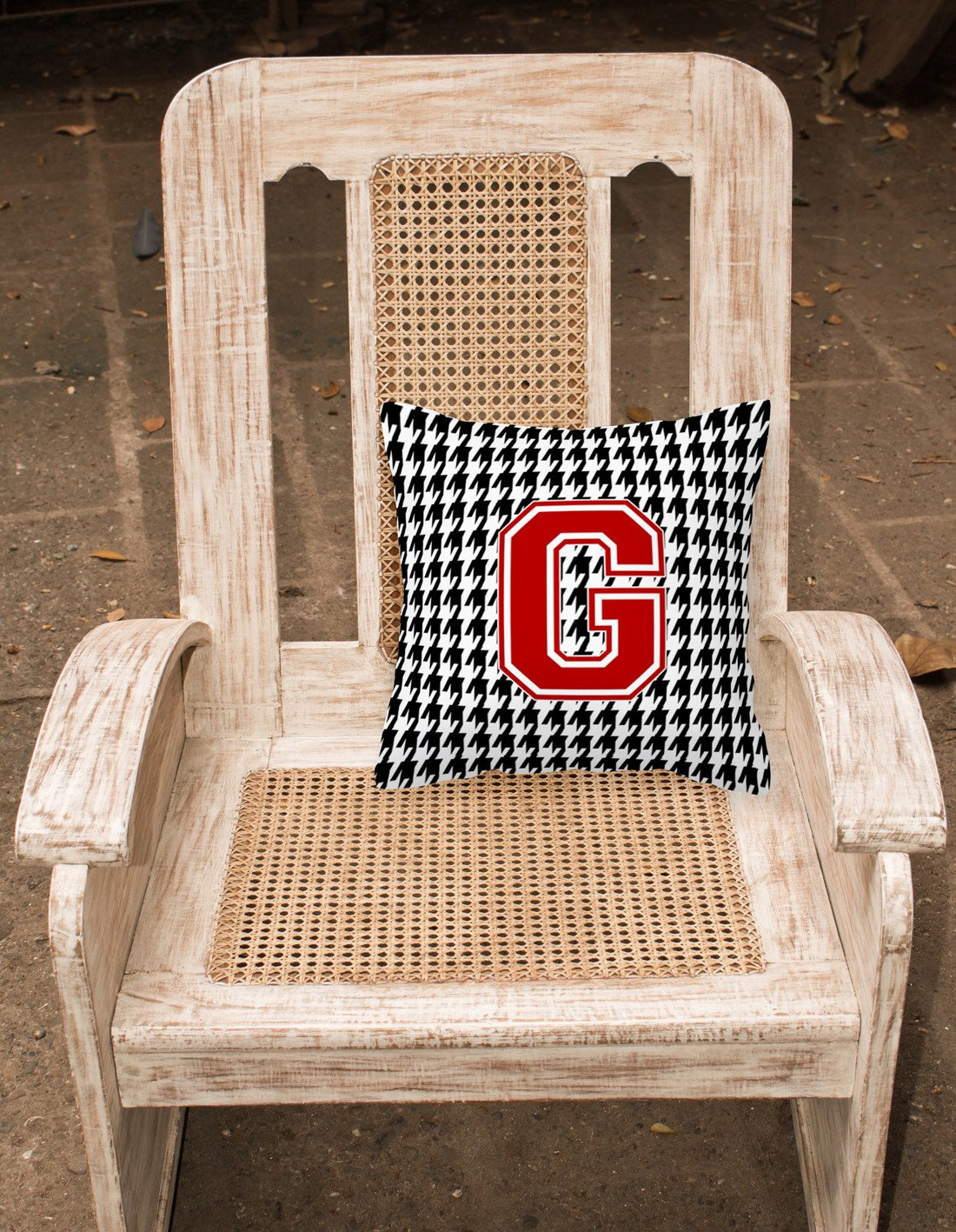 Monogram - Initial G Houndstooth Decorative   Canvas Fabric Pillow CJ1021 by Caroline's Treasures