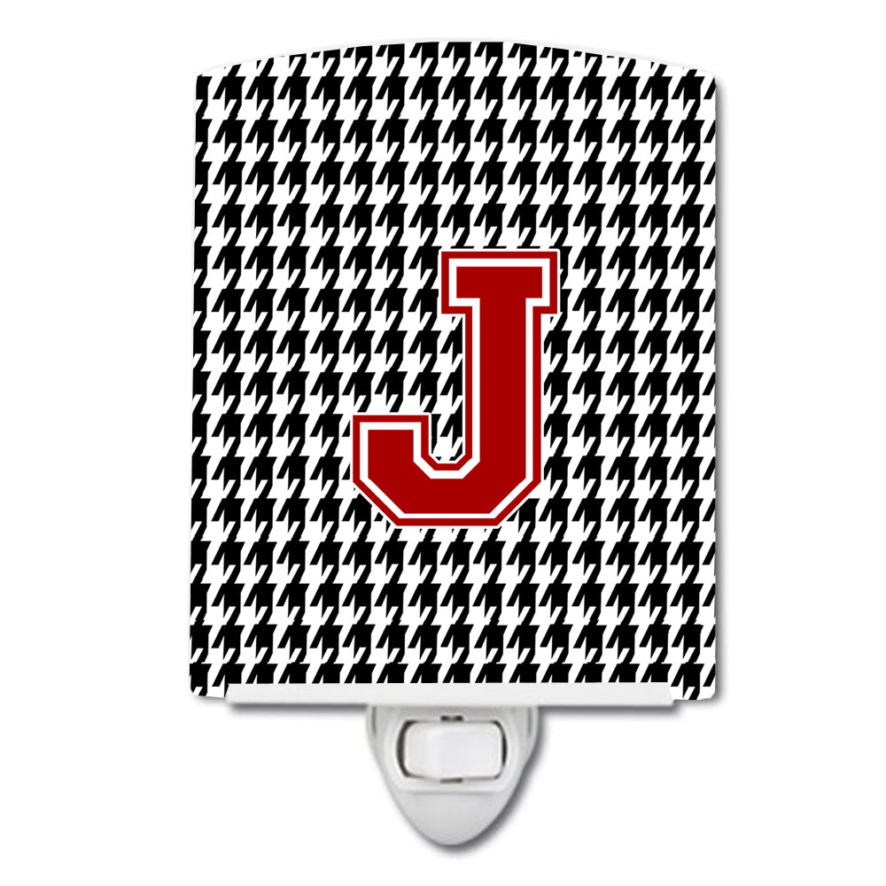 Letter J Monogram - Houndstooth Black Ceramic Night Light CJ1021-JCNL by Caroline's Treasures