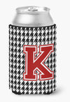 Monogram - Houndstooth Can or Bottle Beverage Insulator Hugger Initial K by Caroline's Treasures