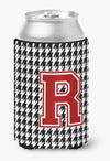 Monogram - Houndstooth Can or Bottle Beverage Insulator Hugger Initial R by Caroline's Treasures
