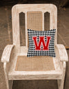 Monogram - Initial W Houndstooth Decorative   Canvas Fabric Pillow CJ1021 - the-store.com