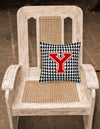 Monogram - Initial Y Houndstooth Decorative   Canvas Fabric Pillow CJ1021 - the-store.com