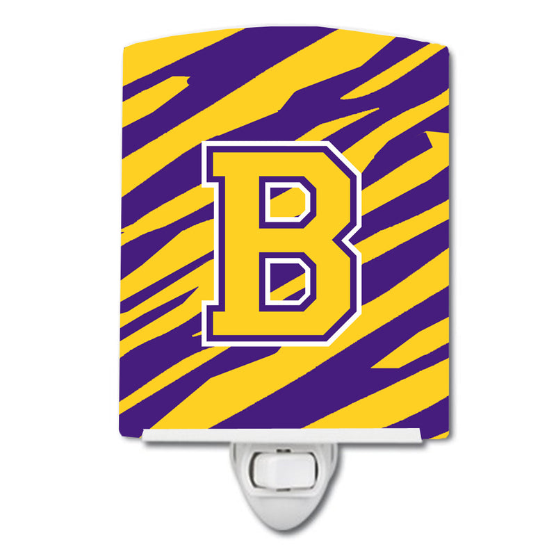 Buy this Letter B Monogram - Tiger Stripe - Purple Gold Ceramic Night Light CJ1022-BCNL