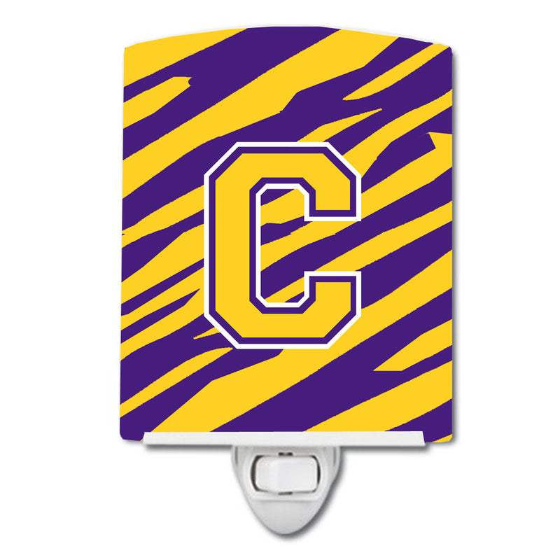 Buy this Letter C Monogram - Tiger Stripe - Purple Gold Ceramic Night Light CJ1022-CCNL