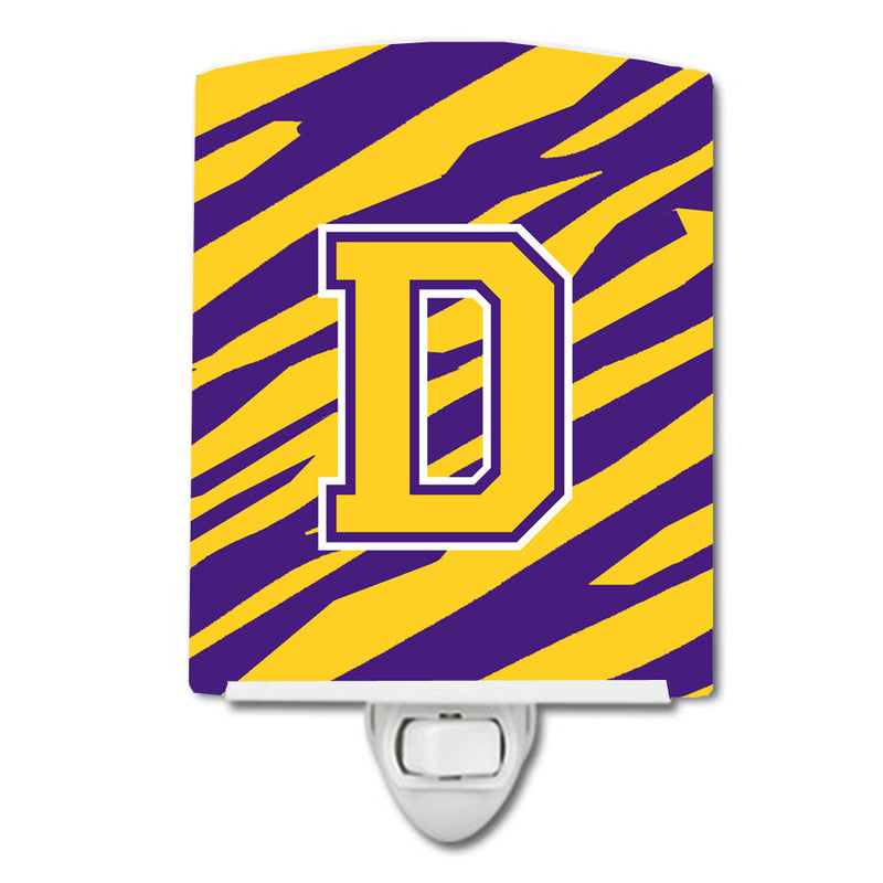 Buy this Letter D Monogram - Tiger Stripe - Purple Gold Ceramic Night Light CJ1022-DCNL