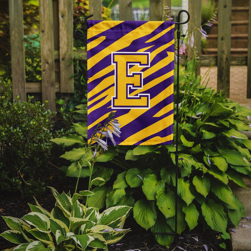 Buy this Monogram - Tiger Stripe - Purple Gold Initial E Monogram Initial Flag Garden