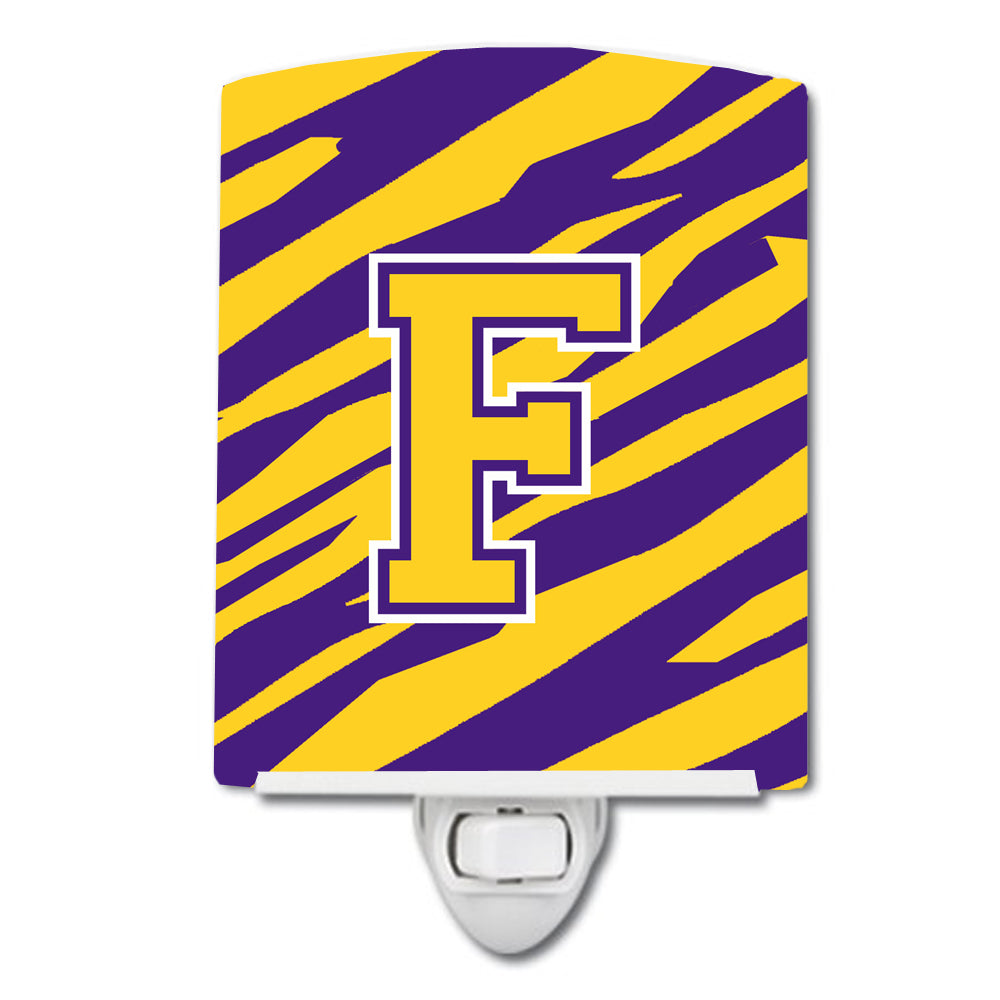 Buy this Letter F Monogram - Tiger Stripe - Purple Gold Ceramic Night Light CJ1022-FCNL