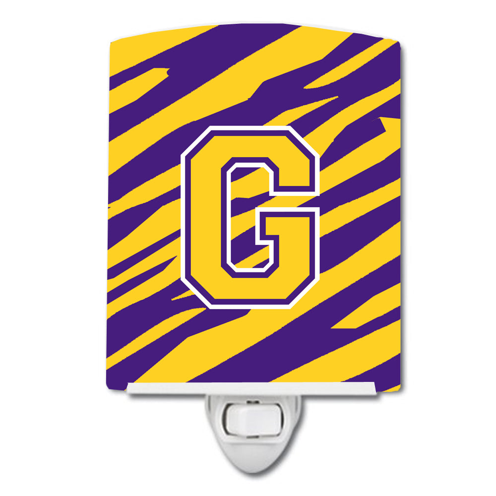 Buy this Letter G Monogram - Tiger Stripe - Purple Gold Ceramic Night Light CJ1022-GCNL