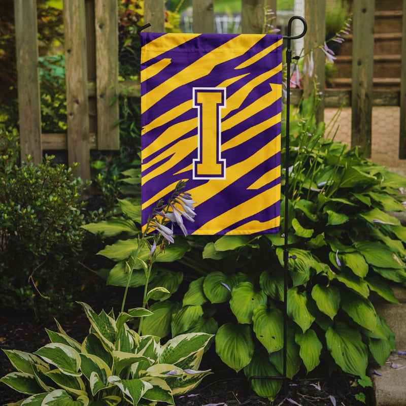 Buy this Monogram - Tiger Stripe - Purple Gold Initial I Monogram Initial Flag Garden
