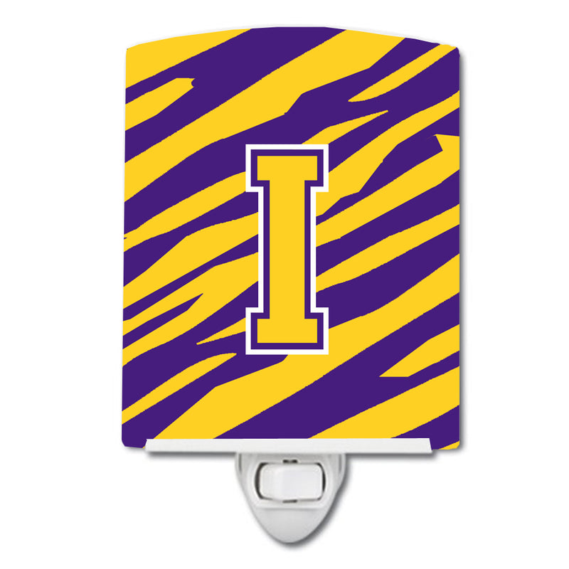 Buy this Letter I Monogram - Tiger Stripe - Purple Gold Ceramic Night Light CJ1022-ICNL