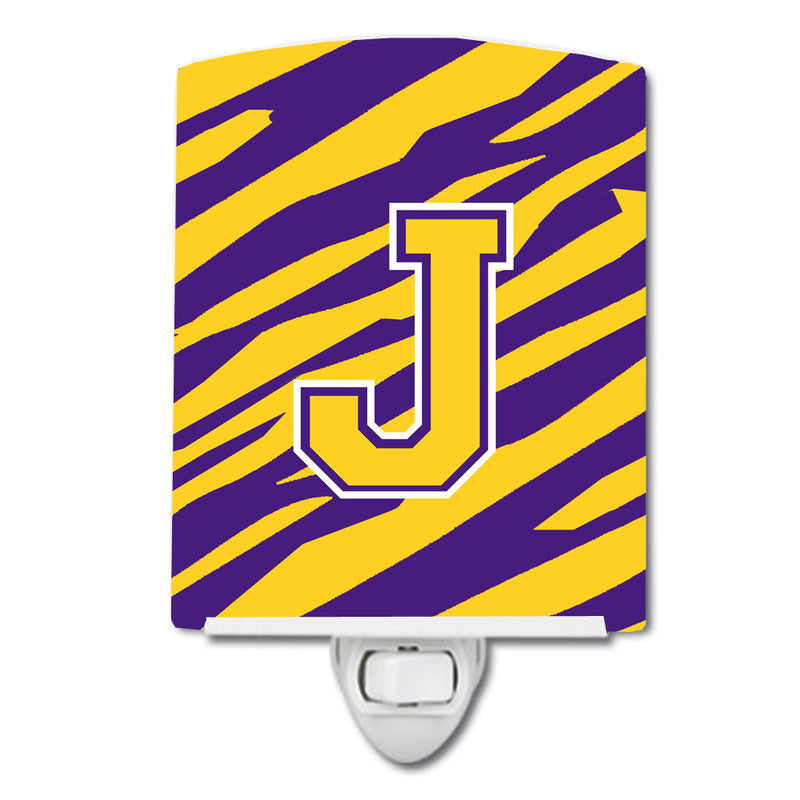 Buy this Letter J Monogram - Tiger Stripe - Purple Gold Ceramic Night Light CJ1022-JCNL