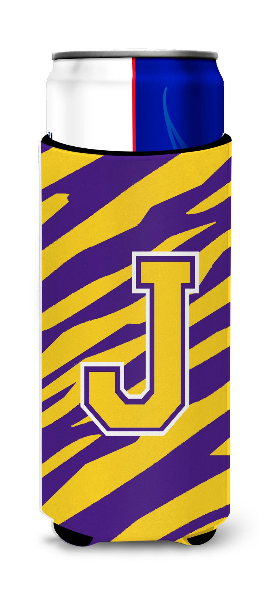Monogram - Tiger Stripe - Purple Gold  Letter J Ultra Beverage Insulators for slim cans CJ1022-JMUK by Caroline's Treasures