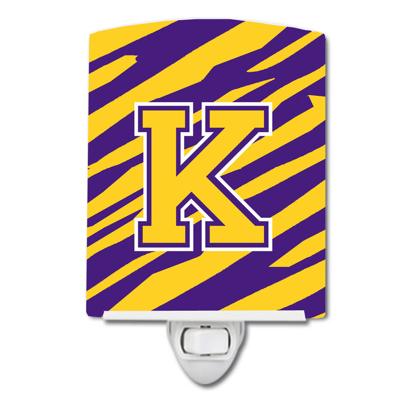 Buy this Letter K Monogram - Tiger Stripe - Purple Gold Ceramic Night Light CJ1022-KCNL