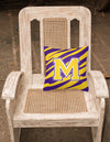 Monogram - Tiger Stripe - Purple Gold Decorative Canvas Fabric Pillow Initial M by Caroline's Treasures