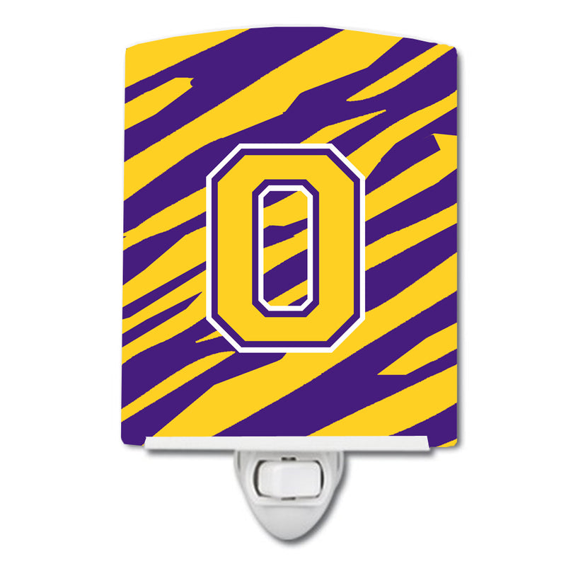 Buy this Letter O Monogram - Tiger Stripe - Purple Gold Ceramic Night Light CJ1022-OCNL