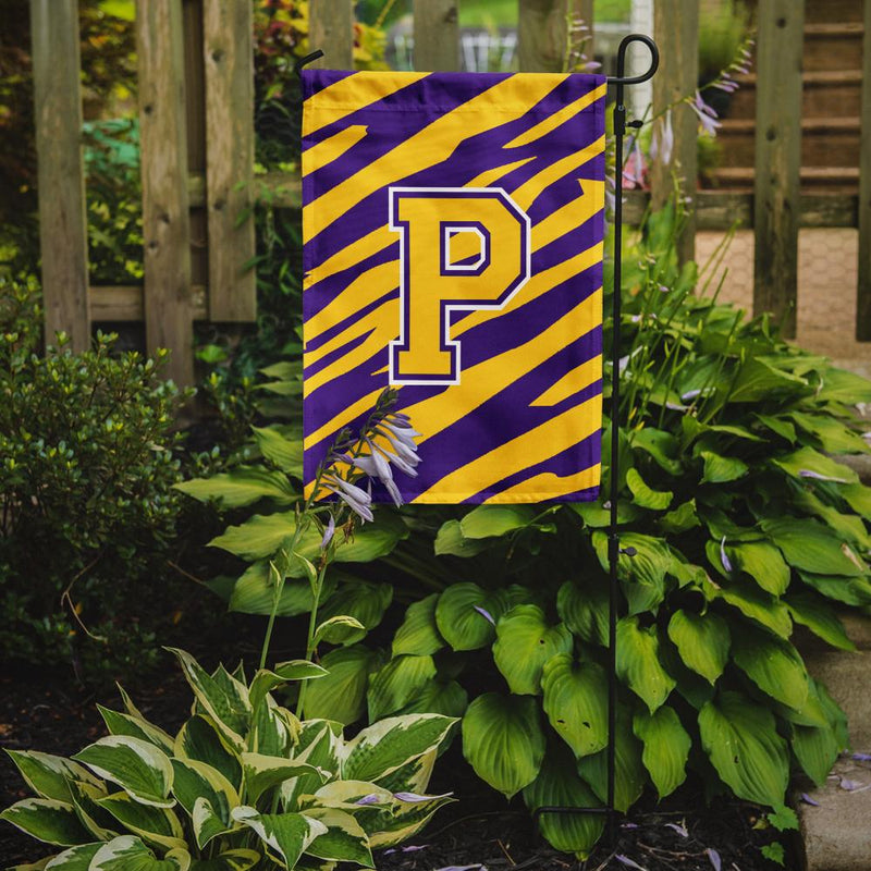 Buy this Monogram - Tiger Stripe - Purple Gold Initial P Monogram Initial Flag Garden