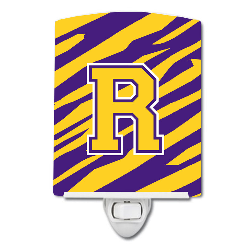 Buy this Letter R Monogram - Tiger Stripe - Purple Gold Ceramic Night Light CJ1022-RCNL