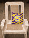 Monogram - Tiger Stripe - Purple Gold Decorative Canvas Fabric Pillow Initial S - the-store.com