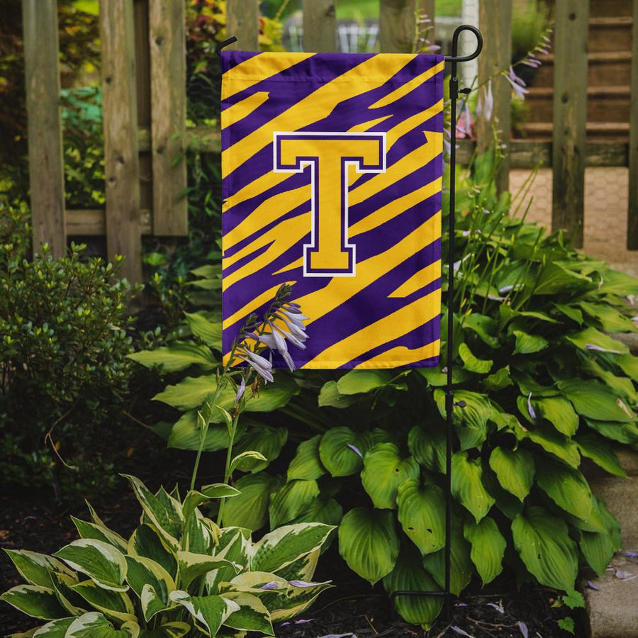 Buy this Monogram - Tiger Stripe - Purple Gold Initial T Monogram Initial Flag Garden
