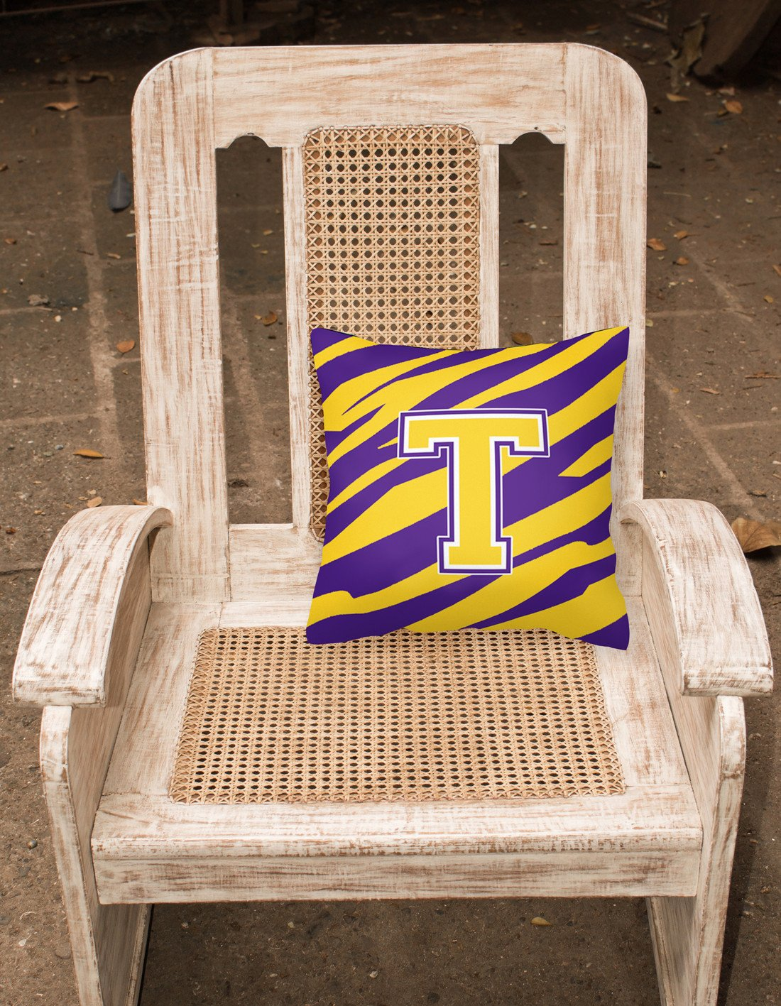 Monogram - Tiger Stripe - Purple Gold Decorative Canvas Fabric Pillow Initial T - the-store.com