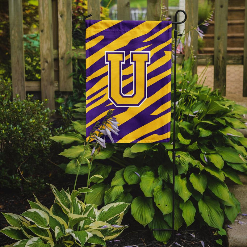 Buy this Monogram - Tiger Stripe - Purple Gold Initial U Monogram Initial Flag Garden