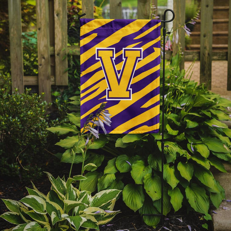 Buy this Monogram - Tiger Stripe - Purple Gold Initial V Monogram Initial Flag Garden